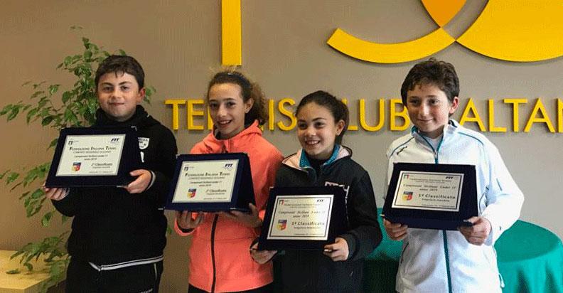 I finalisti del Torneo Under 11. Da sinistra: Trinceri, Maddiona, Fiorillo e Conigliaro.