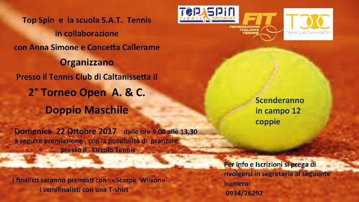 Secondo torneo Open di doppio maschile: domenica 22 ottobre dalle ore 9 alle 13.30