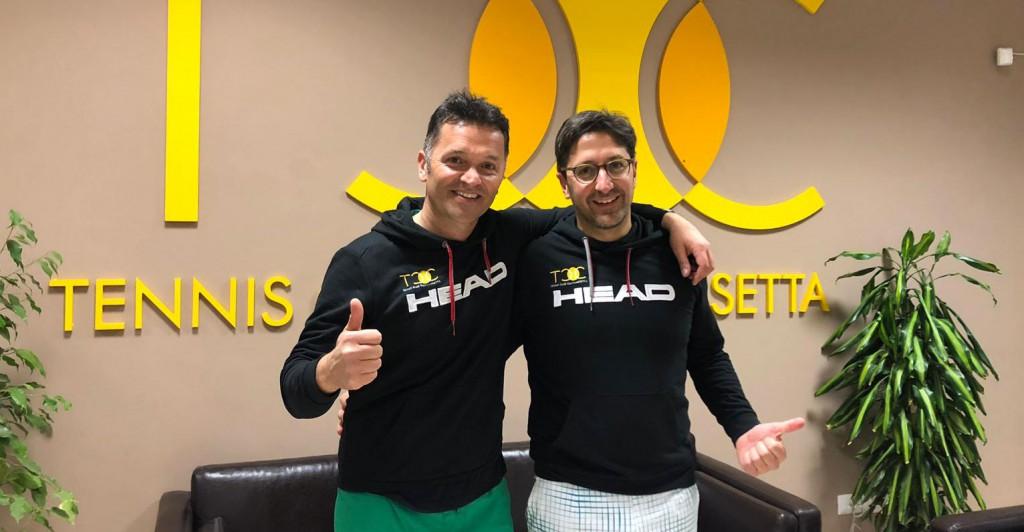 Claudio Miccichè (a sinistra) e Gianluca Nicosia si aggiudicano la finale di doppio maschile